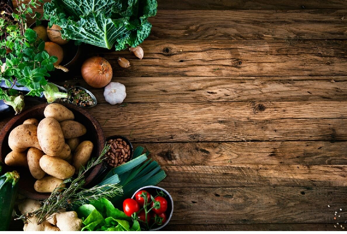 Vegetables on wood. Bio Healthy food herbs and spices. Organic vegetables on wood