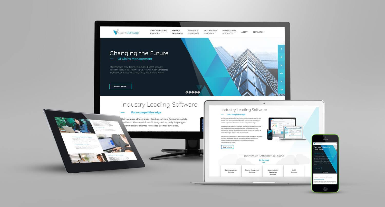 Website mock-up display for client