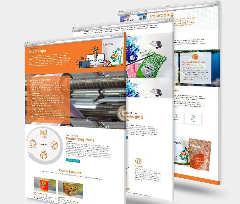 Foxpak landing page mockups