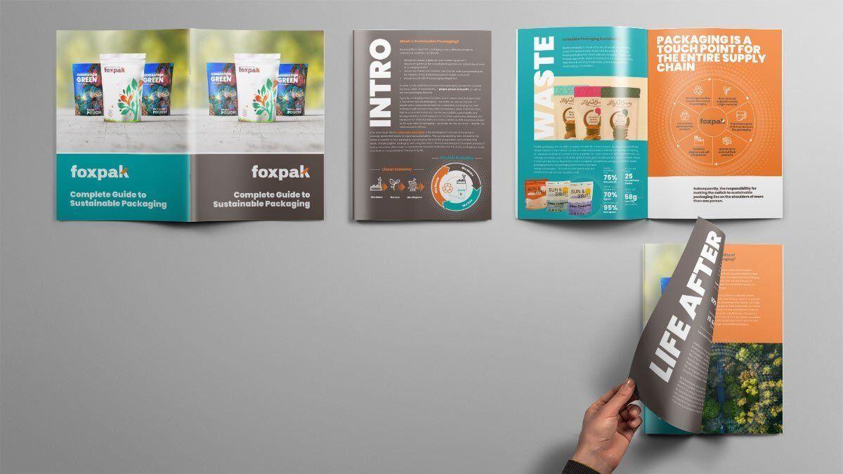 full brochure design for foxpaks sustainable packaging