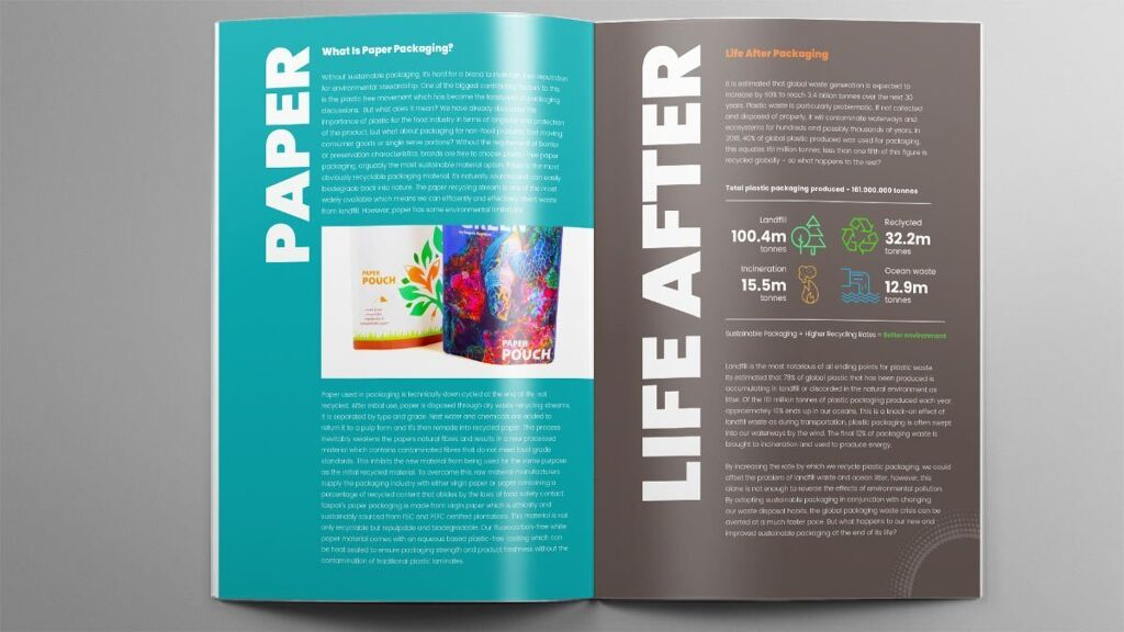 foxpaks sustainable packaging brochure design