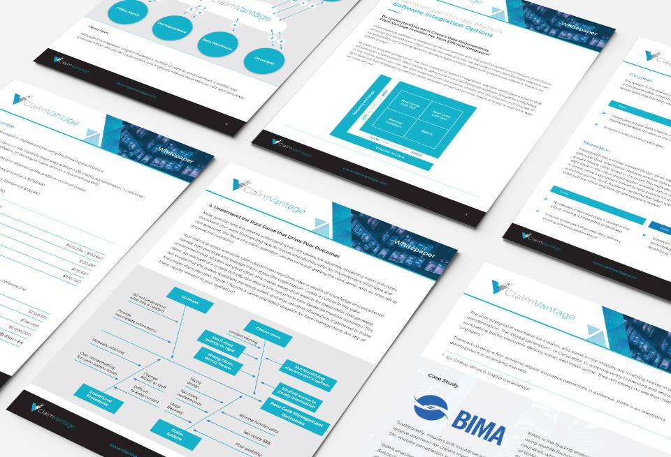 Sales and Marketing Collateral Mockups for ClaimVantage