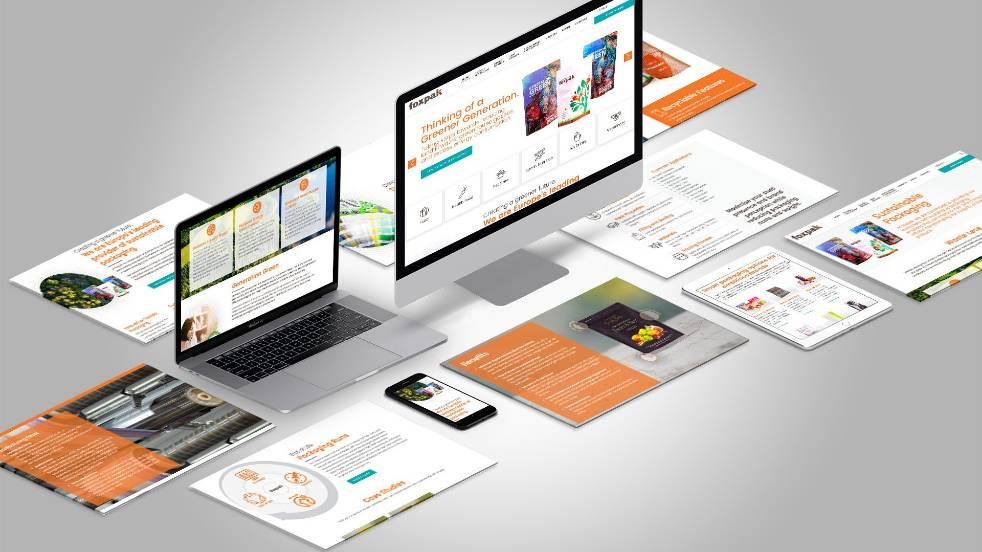 Compilation of website design mockups for Foxpak