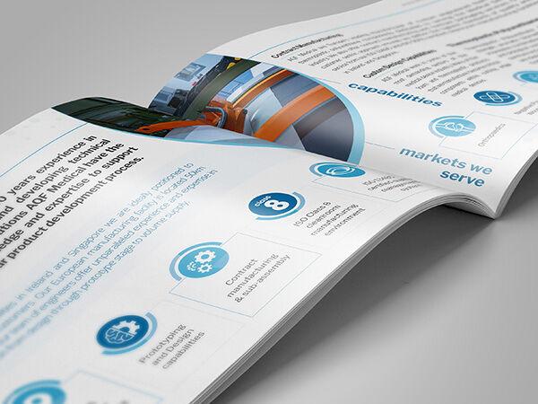 Brochure design mockup for AQF Medical