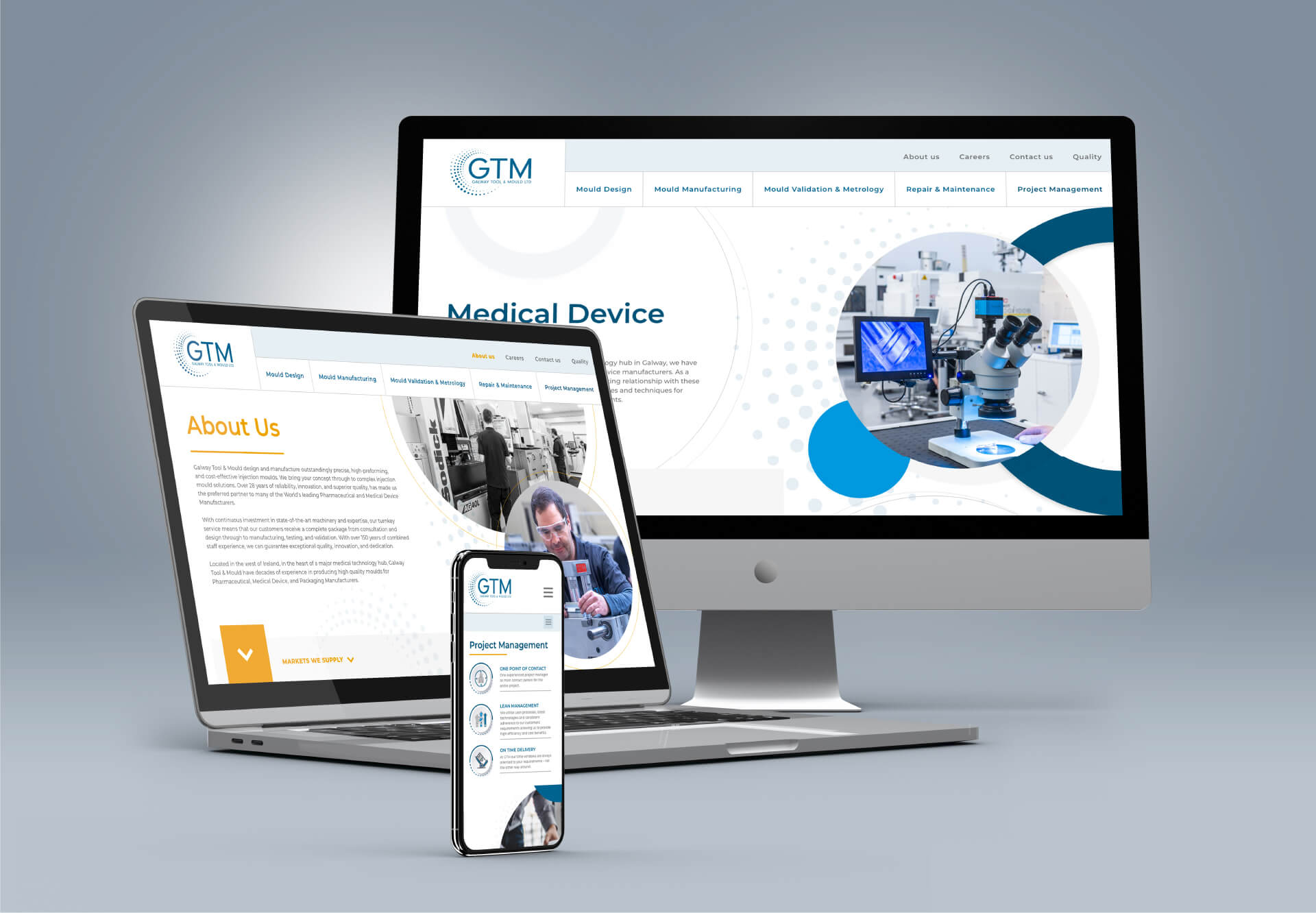 Web design mockups for GTM across different screen resolutions