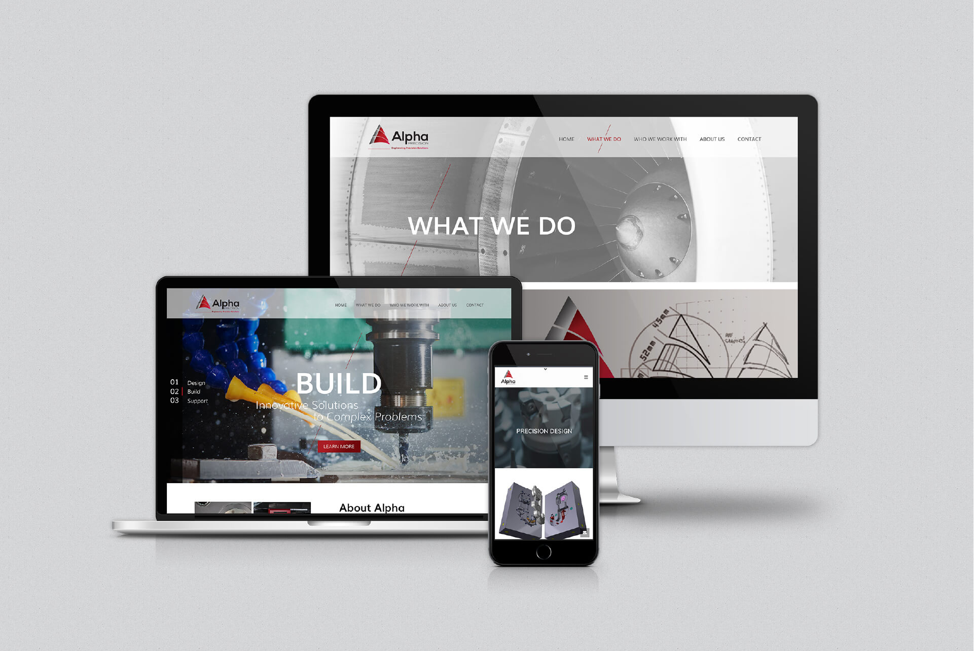 Website design mockups in different screen resolutions for Alpha Precision