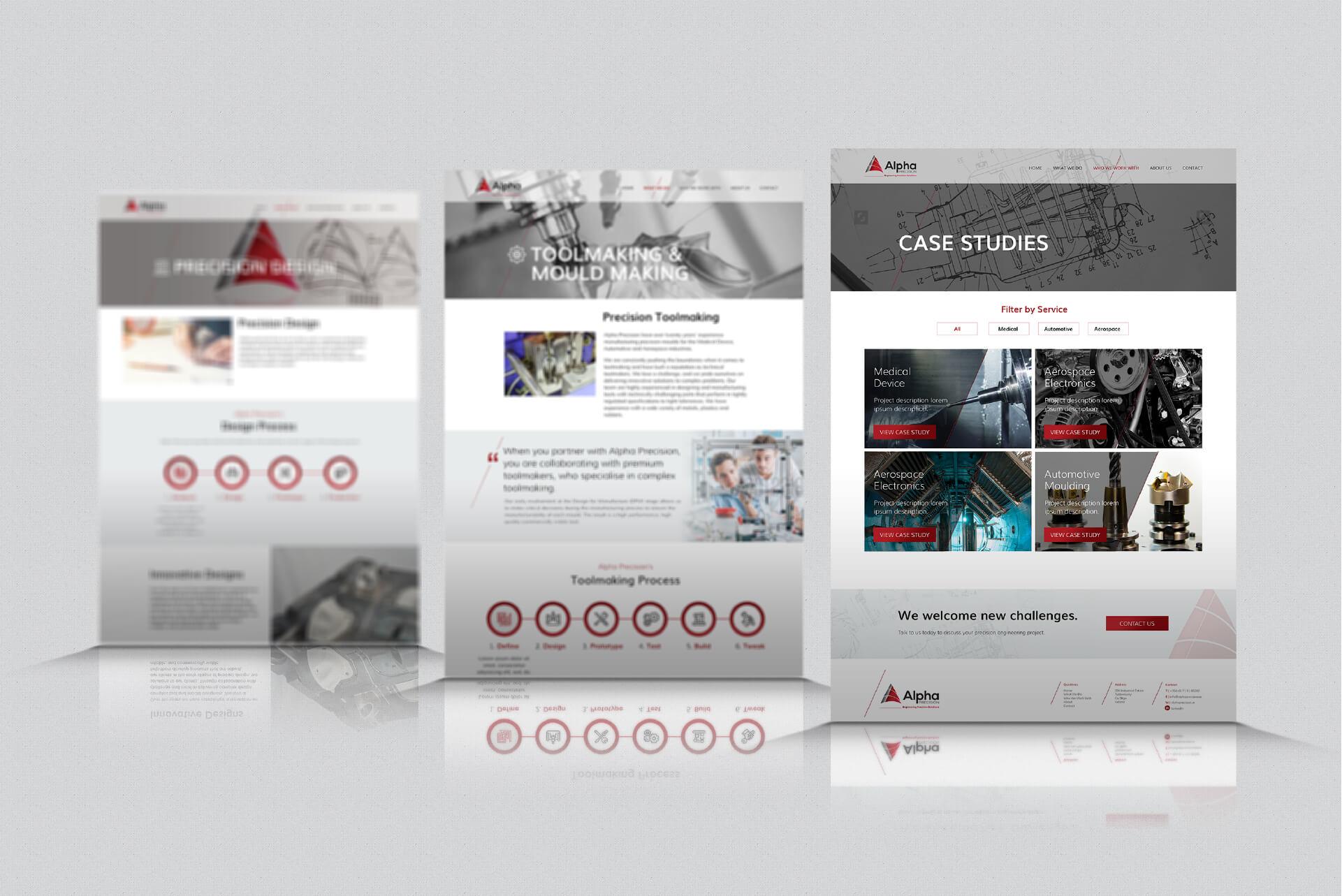 Website design mockups for Alpha Precision