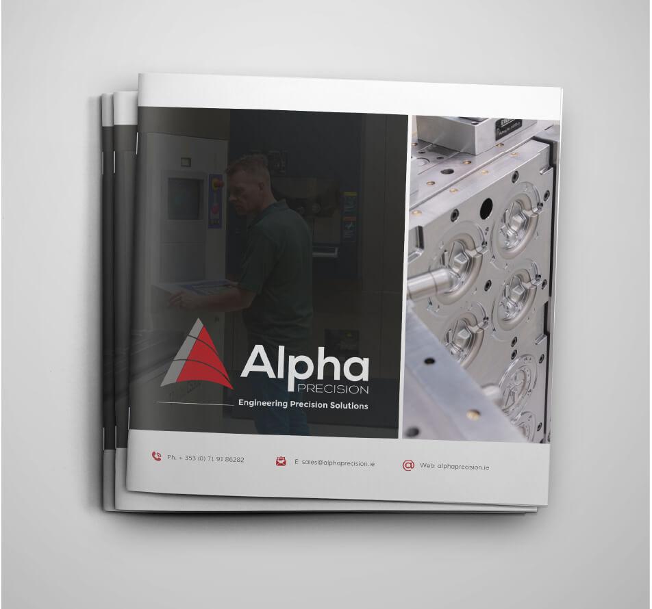 Alpha Precision brochure design mockups