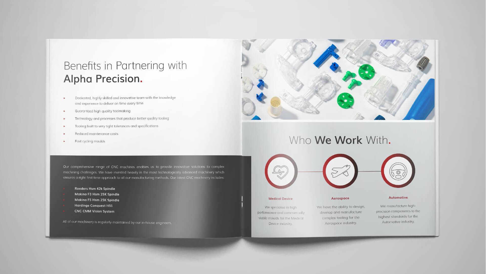 Brochure design mockups for Alpha Precision