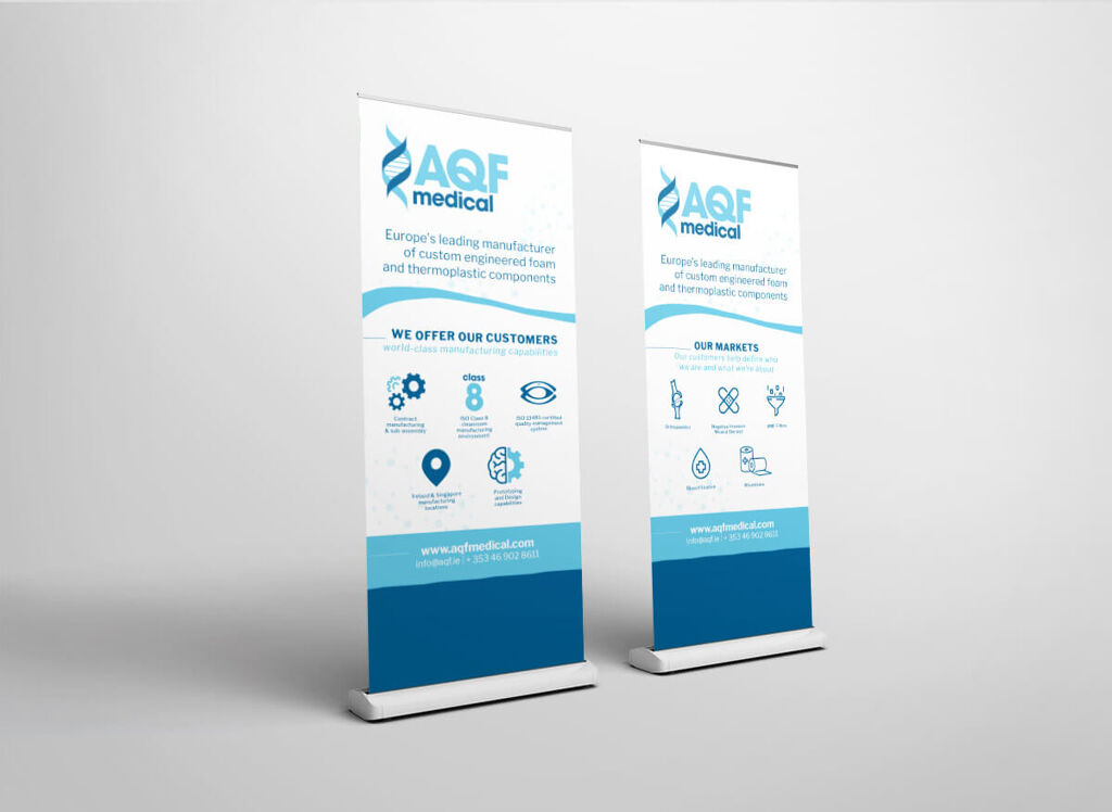 Trade show pull up stand mockup for AQF medical