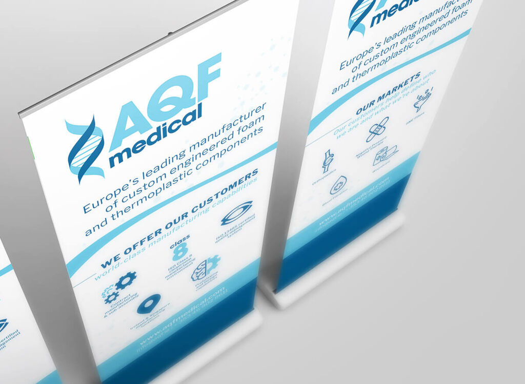 Trade stand pull up banner mockup for AQF medical