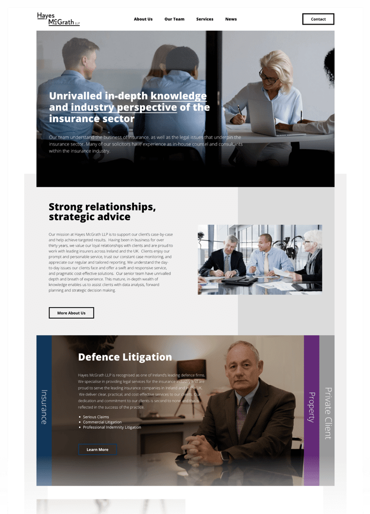 Hayes McGrath web design mockup for desktop