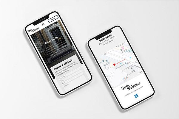 Hayes McGrath website mockups for mobile