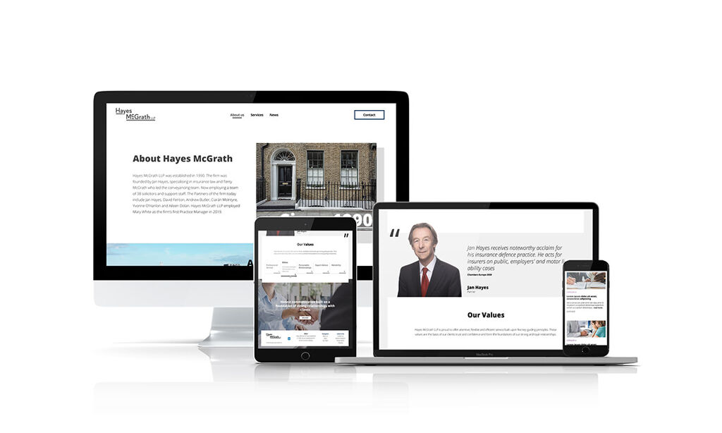 Hayes McGrath website mockups across different screen resolutions