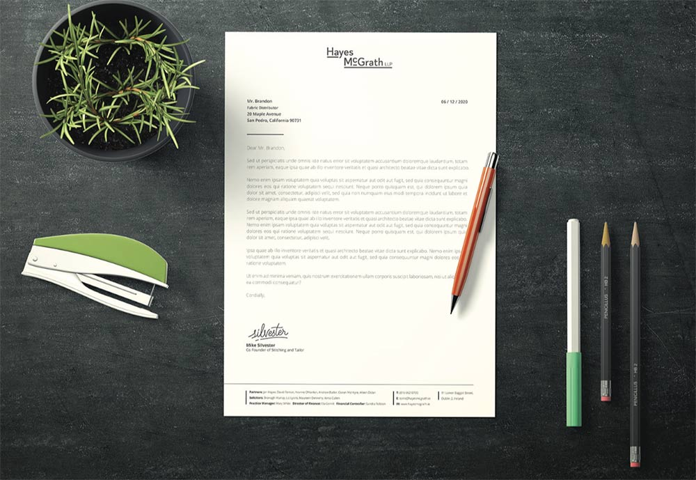 Mockup of a letterhead for Hayes McGrath