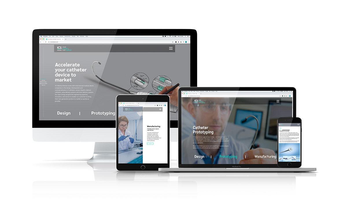Website design mockups for ICS Medical