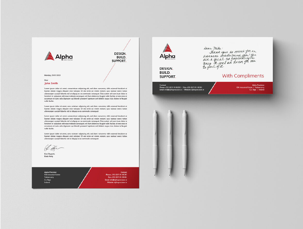 Letterhead and business card mockups for Alpha Precision