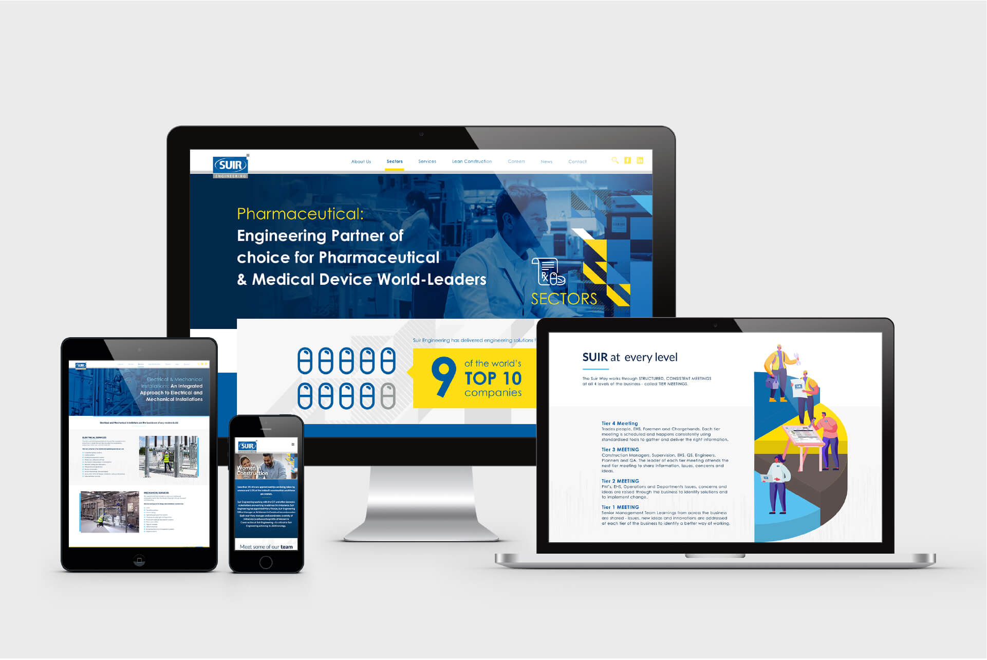Suir Engineering Website Mockups across different devices