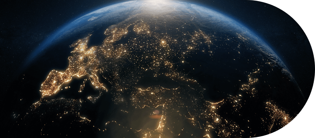 Satellite image of earth at night time