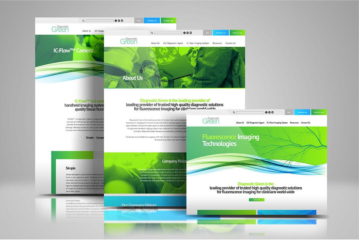 Website mockups for Diagnostic Green