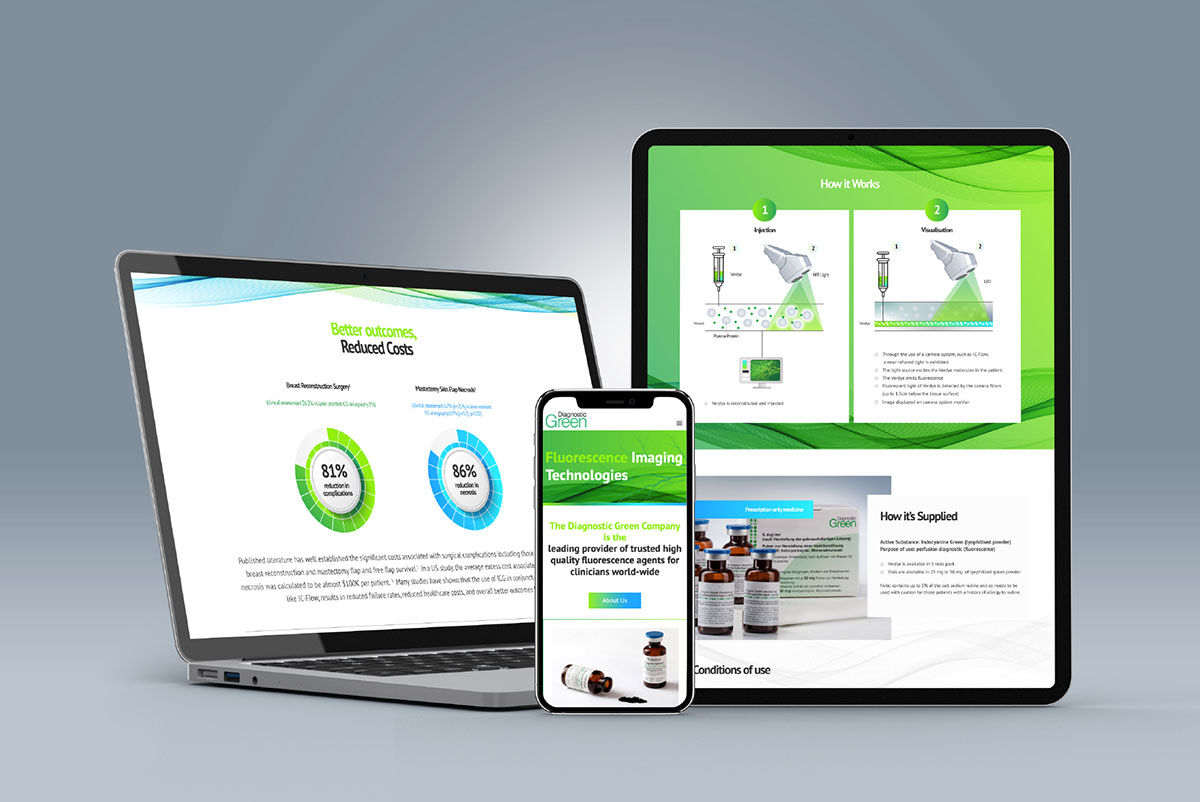 Webs design mockups on different devices for Diagnostic Green