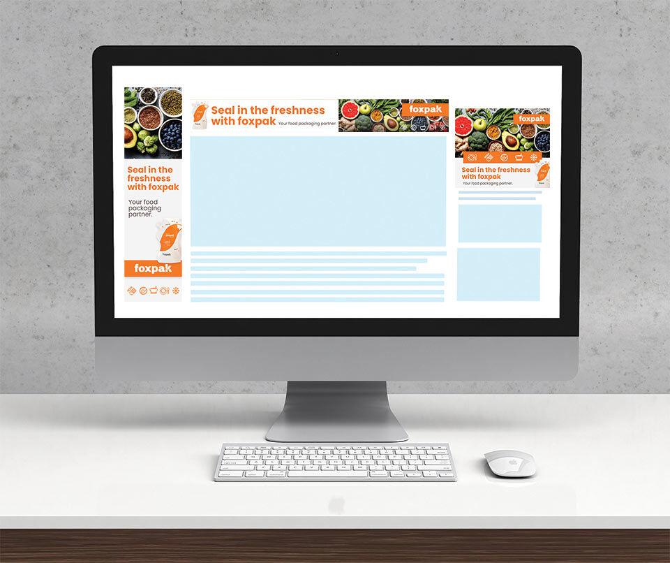 Display ad design mockups for Foxpak