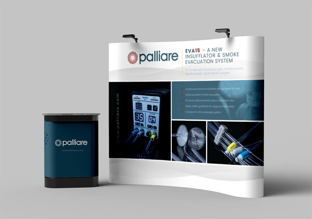 Trade show booth mockup for Palliare