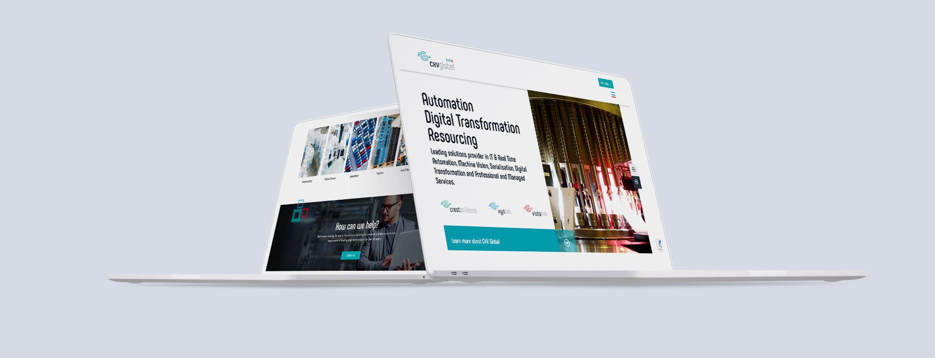 CXV website design mockup for desktop